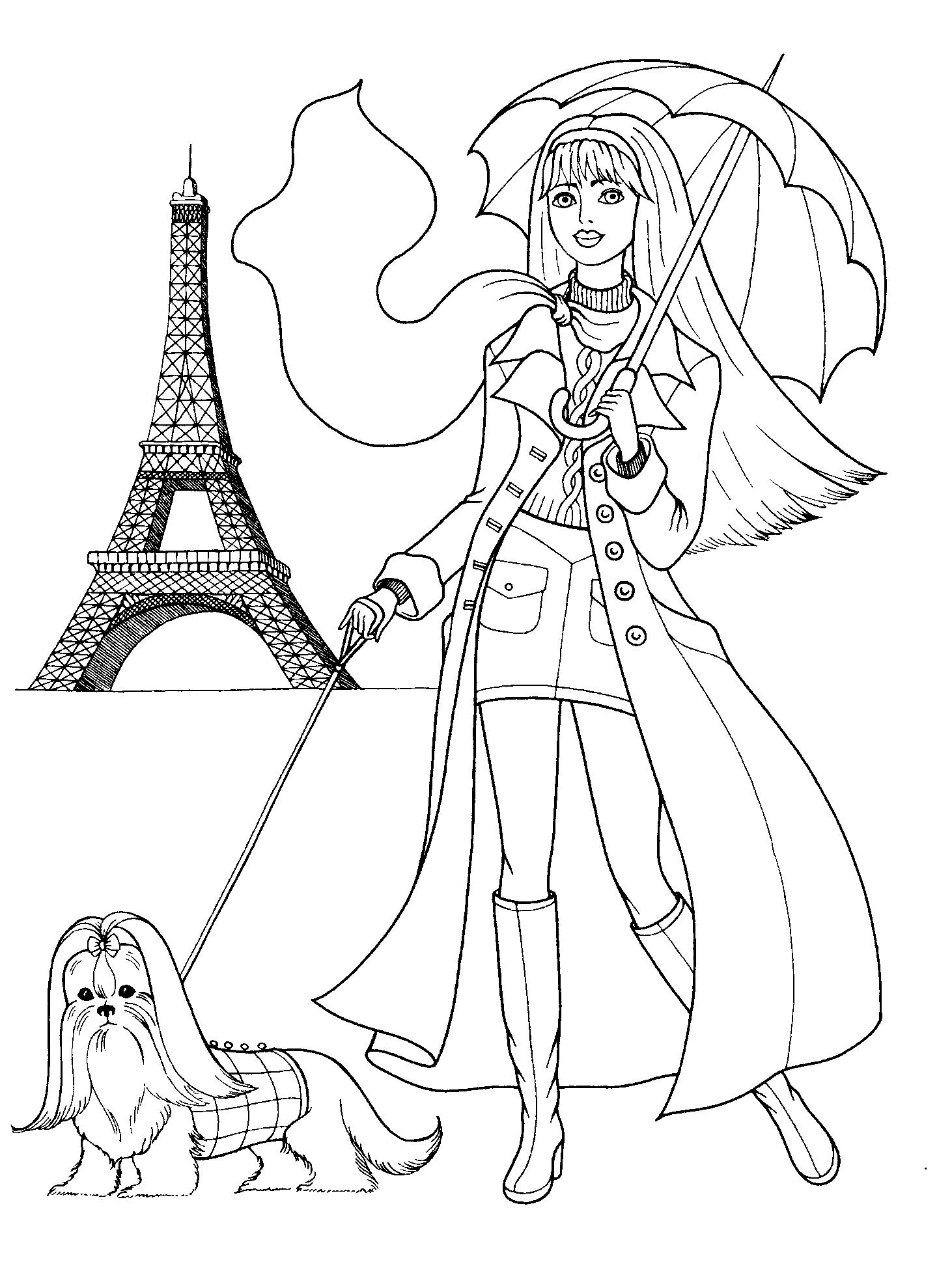 Раскраска для девочек - куклы, кошечки, принцессы