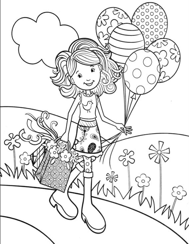 """Раскраска """"девочка с шариками"""""""