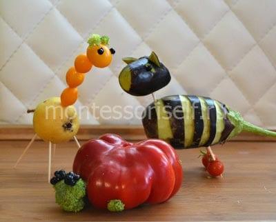 Животные из овощей и фруктов