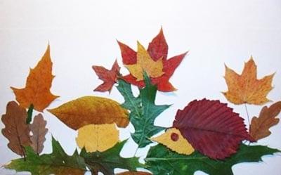 Картина из листьев с ежиком, грибом и лесом