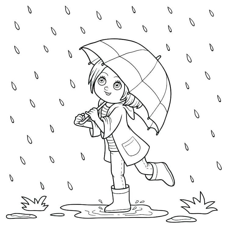 Девочка гуляет под дождем