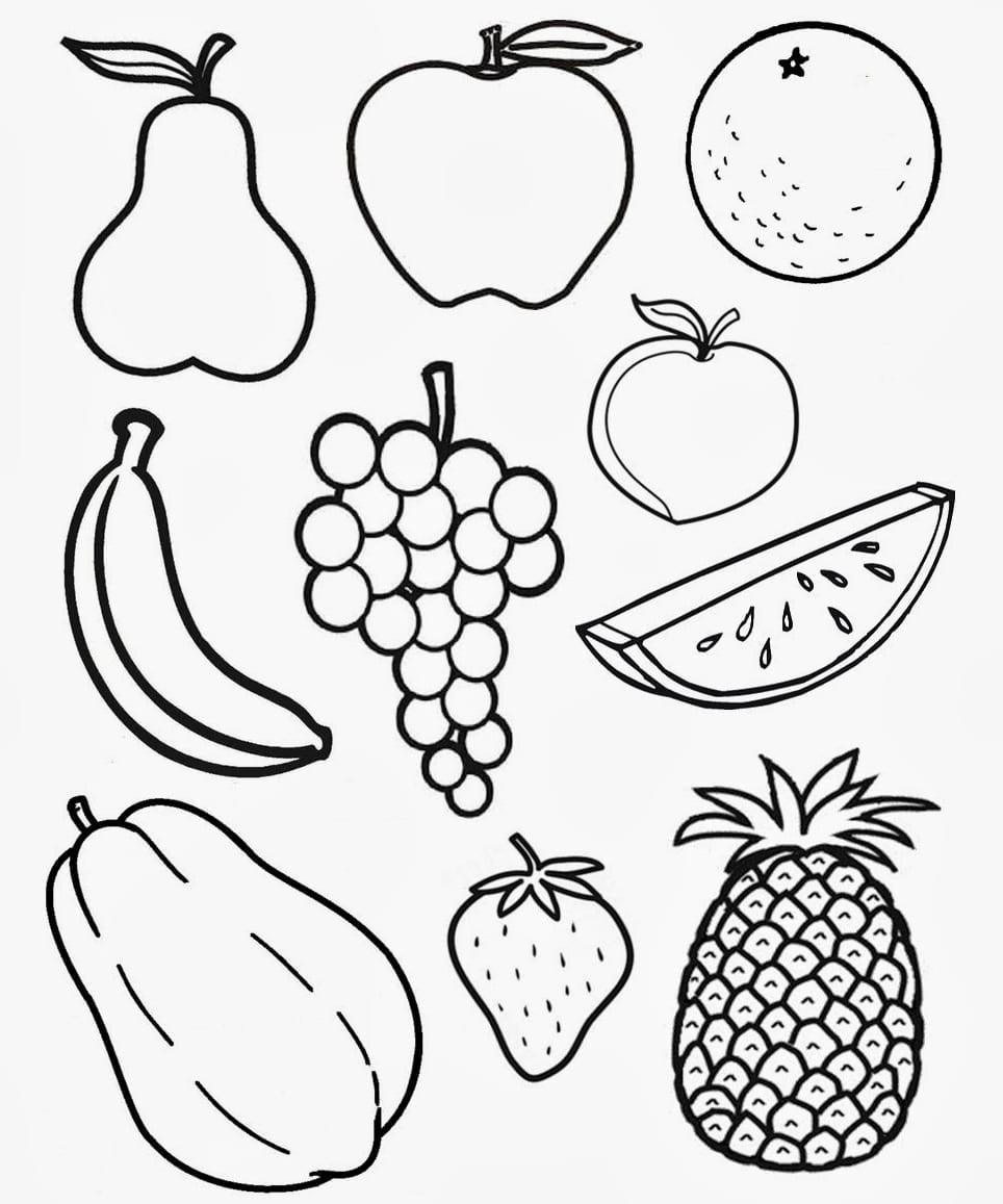 Раскраски овощей и фруктов картинки