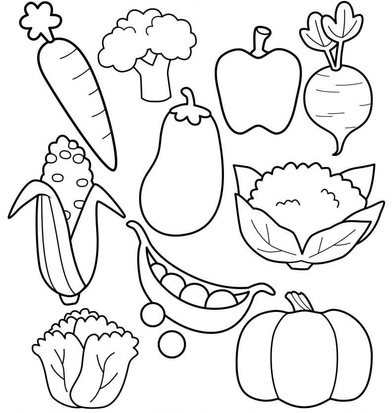 раскраска набор овощей сыр