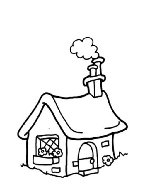 Раскраска деревенский домик