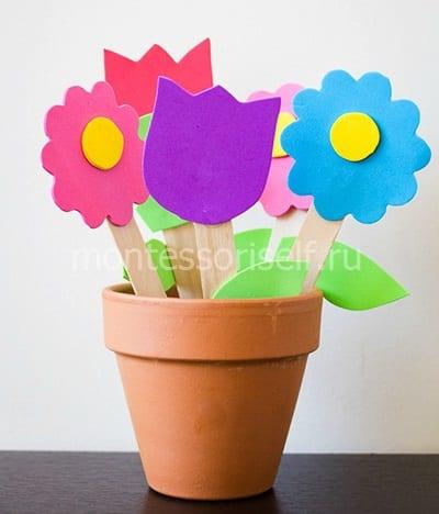Цветы в горшочке на День Матери из фоамирана