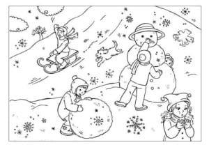 Раскраска зима 4