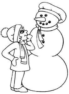 раскраска девочка и снеговик