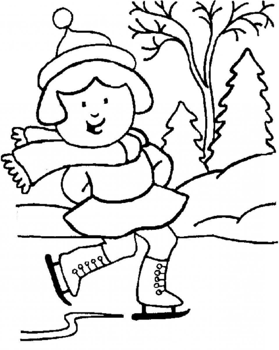 Дети катаются на коньках картинки для детей раскраски