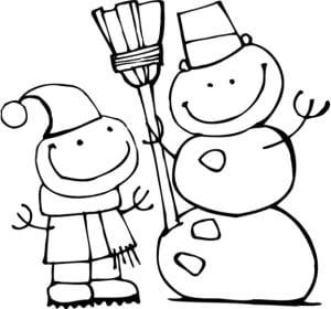 раскраска снеговики