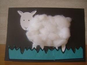 Поделка овечка из ваты 1