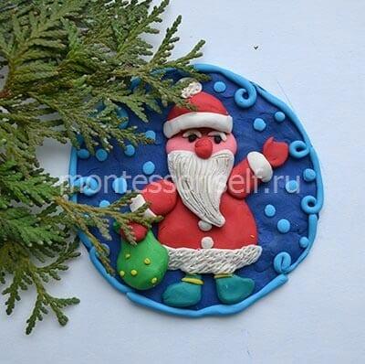 "Картина из пластилина ""Дед Мороз"""
