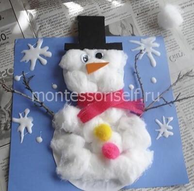 Снеговик из ватных шариков