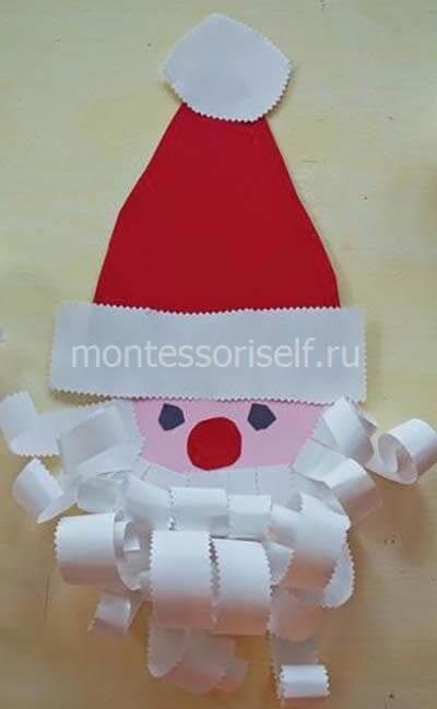Аппликация из бумаги Дед Мороз