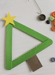 Поделка из палочек от мороженого новогодняя елка 3