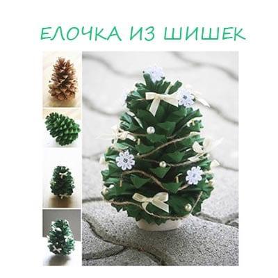 Новогодняя поделка елка из шишек