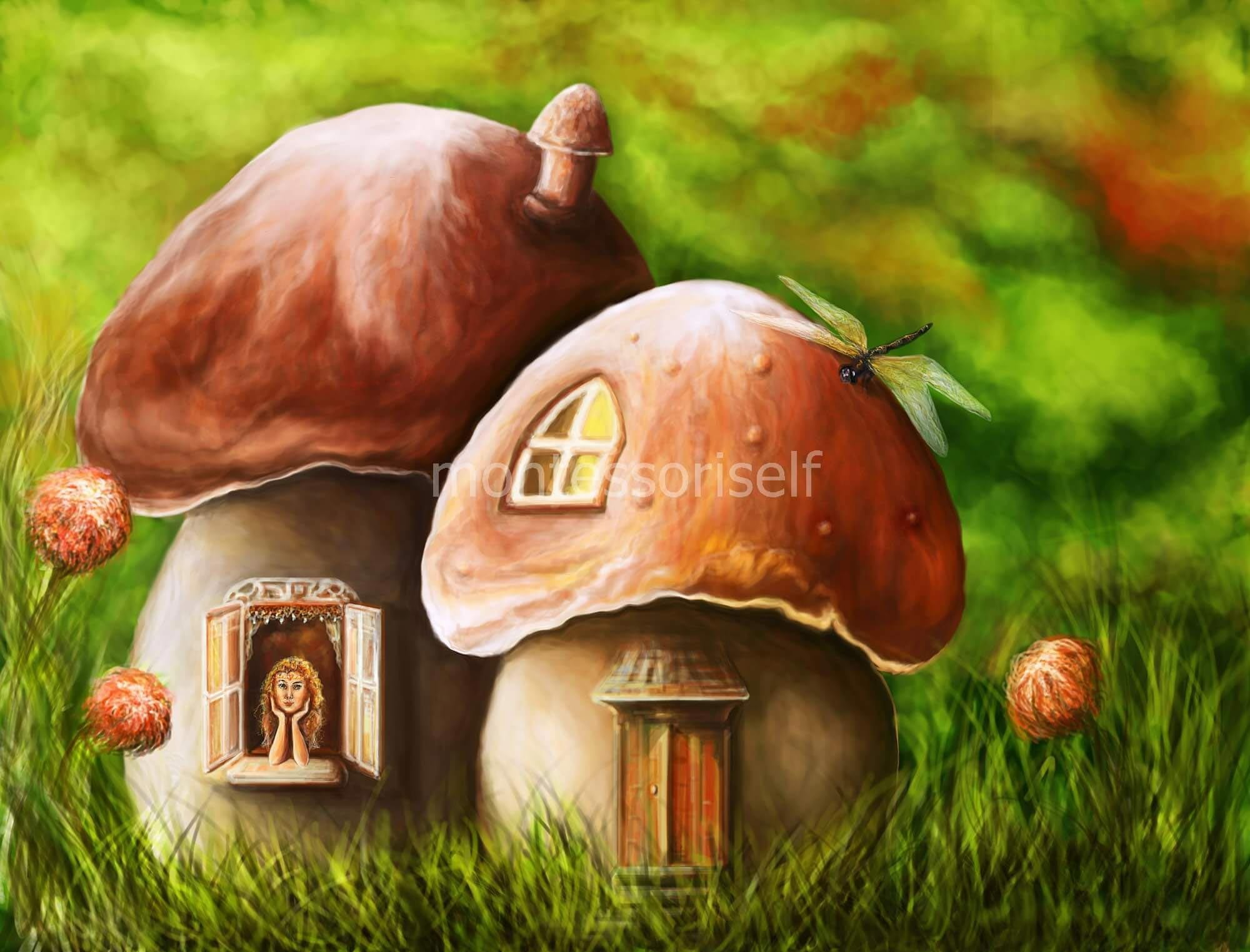Картинки с грибами-домиками