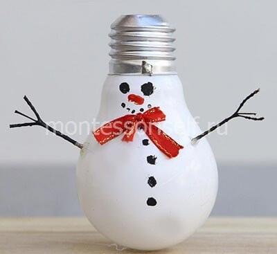 Елочная игрушка снеговик из лампочки