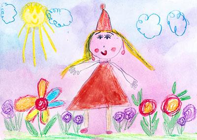 Мама с цветами в платье и шапочке
