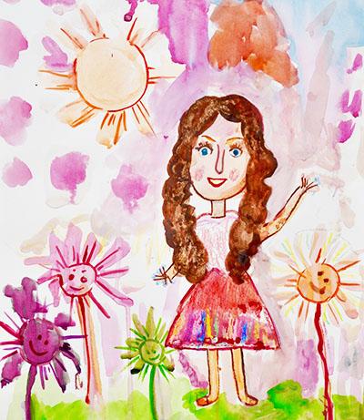 Мама на лужайке с цветами 2