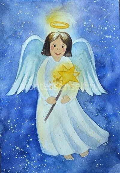 Ангел рисунок красками