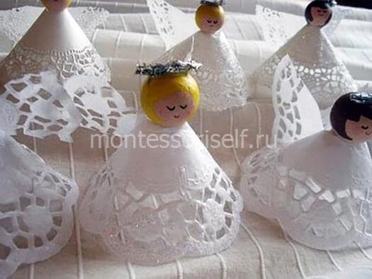 Ангелочки из кружева своими руками