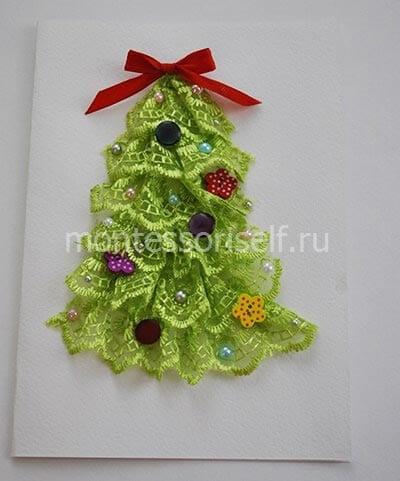 Открытка с елочкой из тесемки в подарок на Новый Год