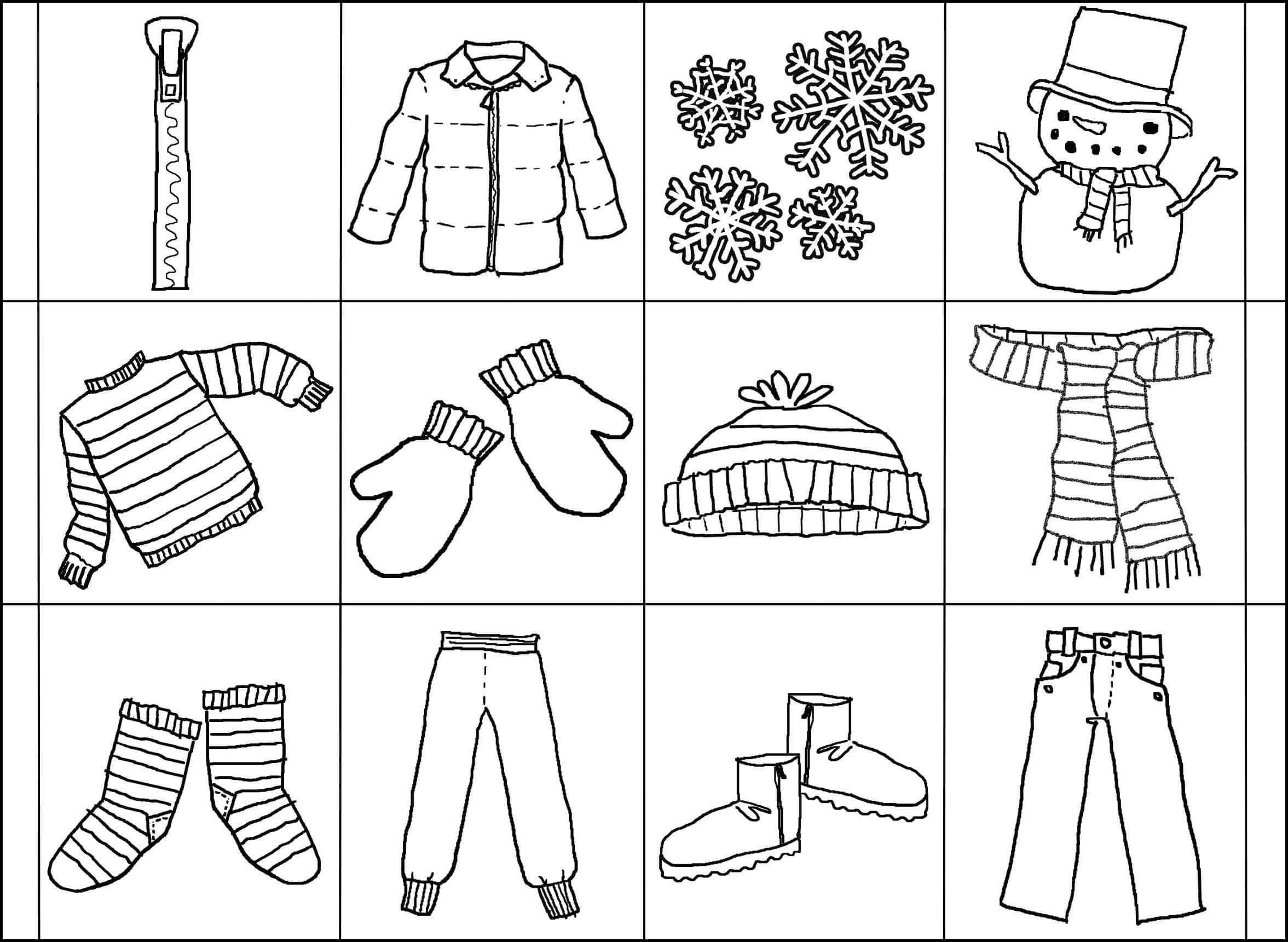 Coloring winter clothes on cards