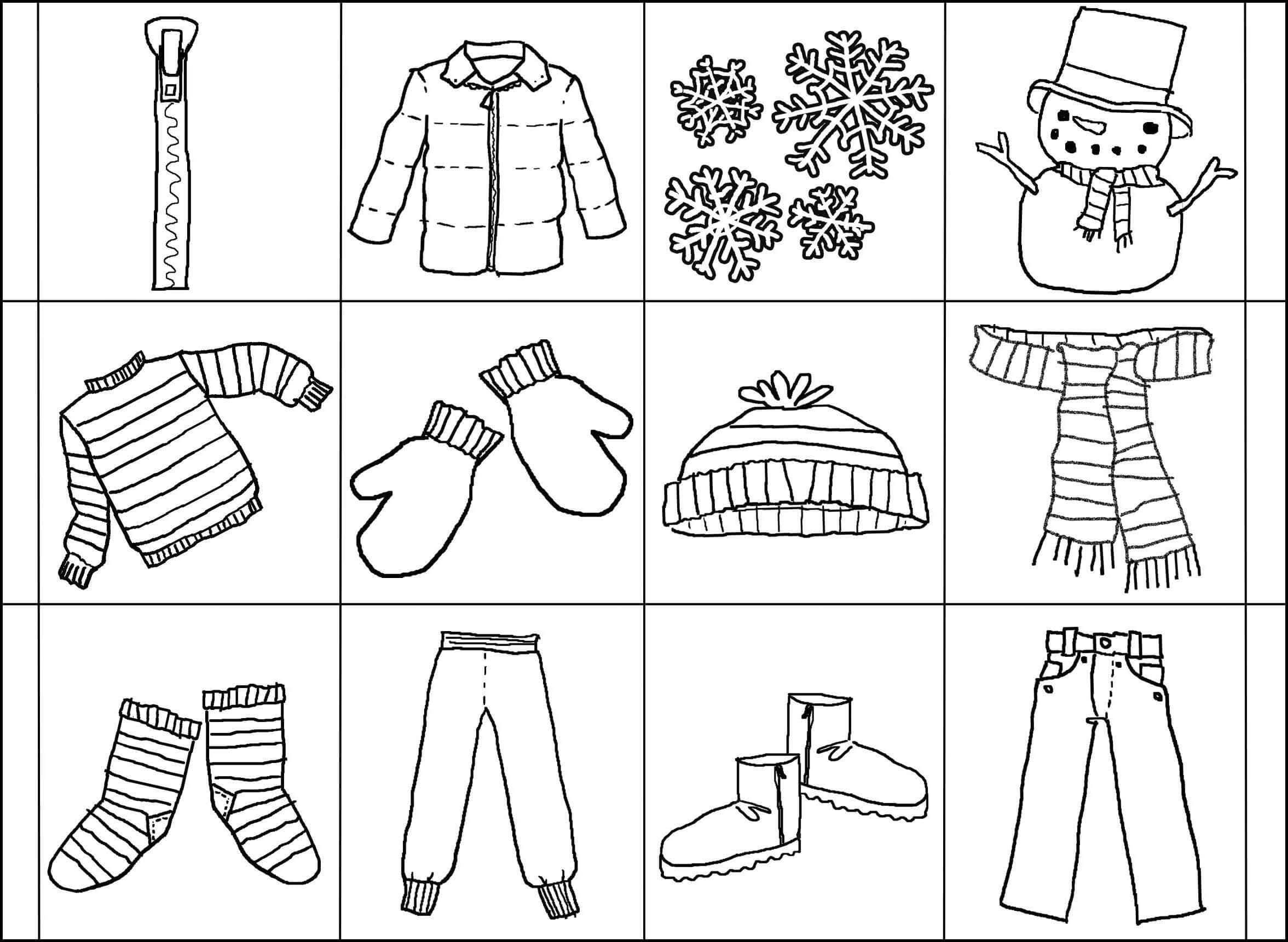 Раскраска зимняя одежда на карточках