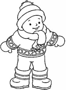Coloring a child in winter clothes