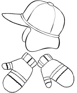 Раскраска зимняя шапка и варежки