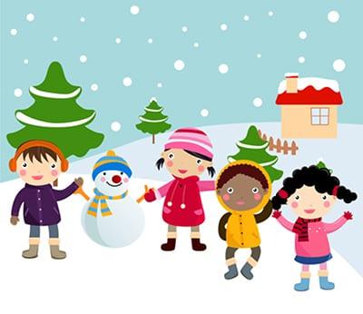 Дети, снег и снеговик