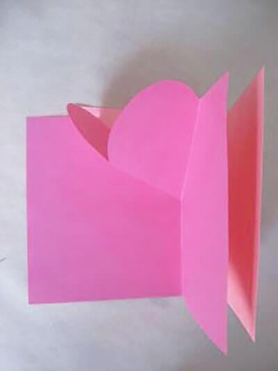We glue the rectangle to the leaflet with a heart