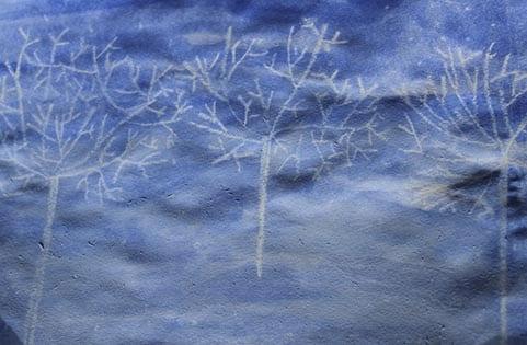 Зимний лес рисунок мелом