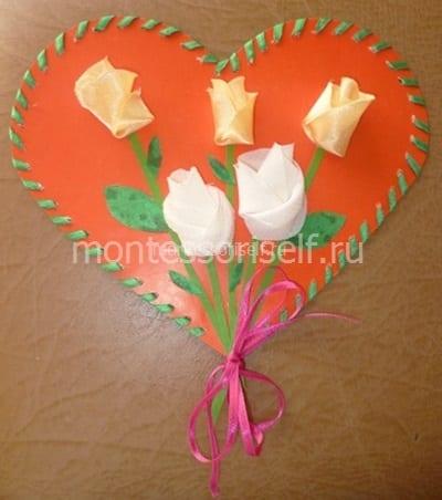 Сердечко из бумаги и картона
