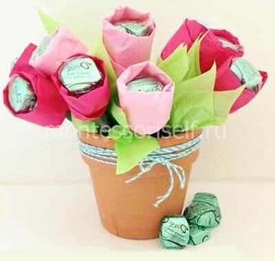 Букет из конфет на 8 марта