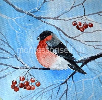 """Рисунок """"Снегирь"""" красками"""