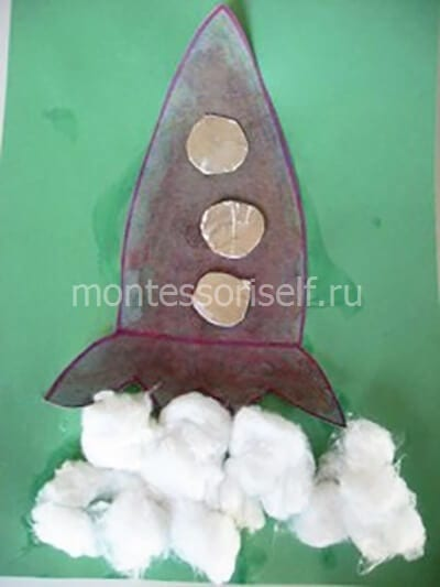 Аппликация ракета с ватой
