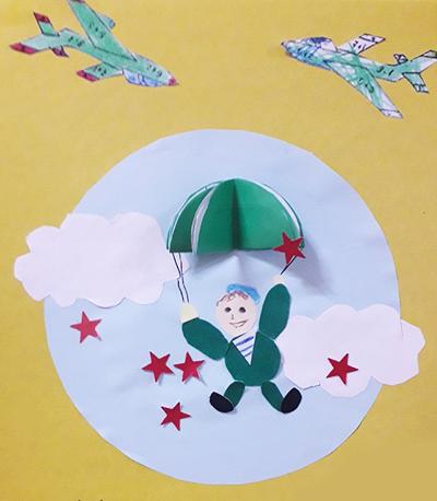"""Аппликация на 23 февраля """"Солдат на воздушном шаре"""""""