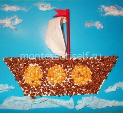 Корабль из круп