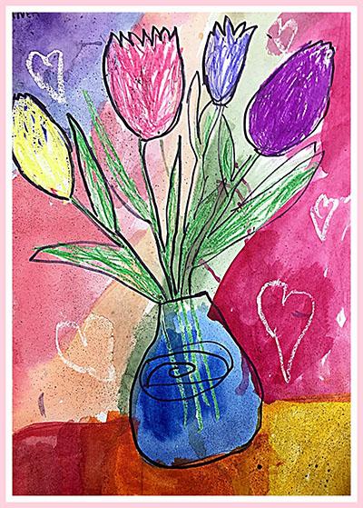 """Рисунок """"Цветные тюльпаны в вазе"""""""