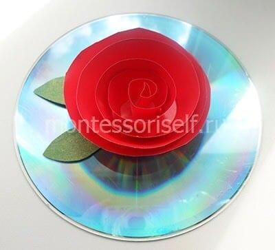 Роза на диске к 8 марта