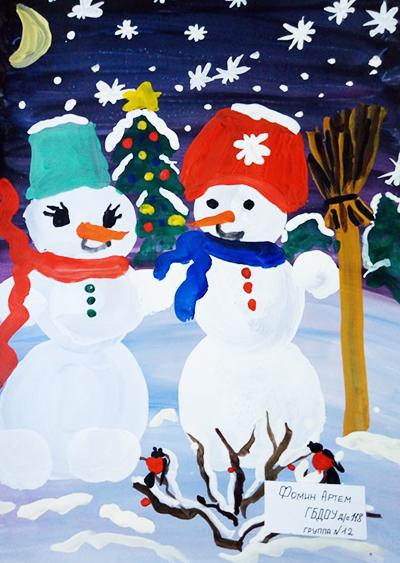 """Рисунок гуашью """"Зимние снеговики"""""""