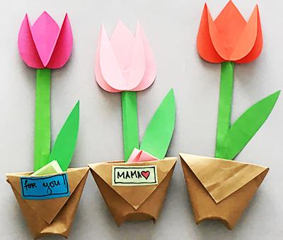 Тюльпаны в горшочках из бумаги