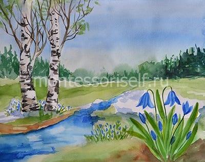 Ручеек и травка, лес, березка и цветы