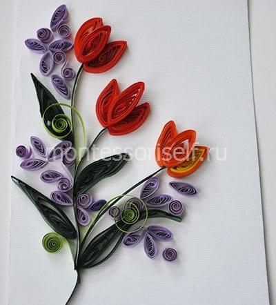 Весенняя открытка с тюльпанами и сиренью