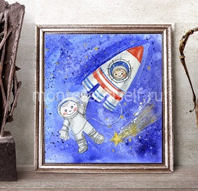 """Рисунок акварелью с использованием соли """"Космонавт и ракета"""""""