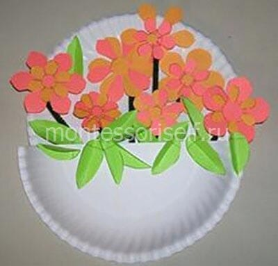 Аппликация из бумажных тарелок с цветами