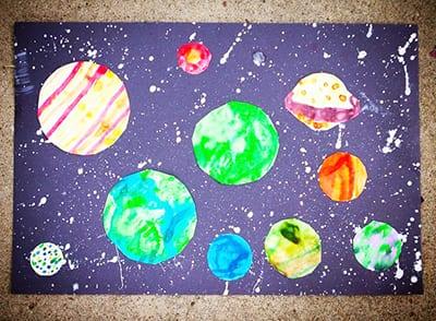 """Космический рисунок и аппликация """"Планеты"""""""
