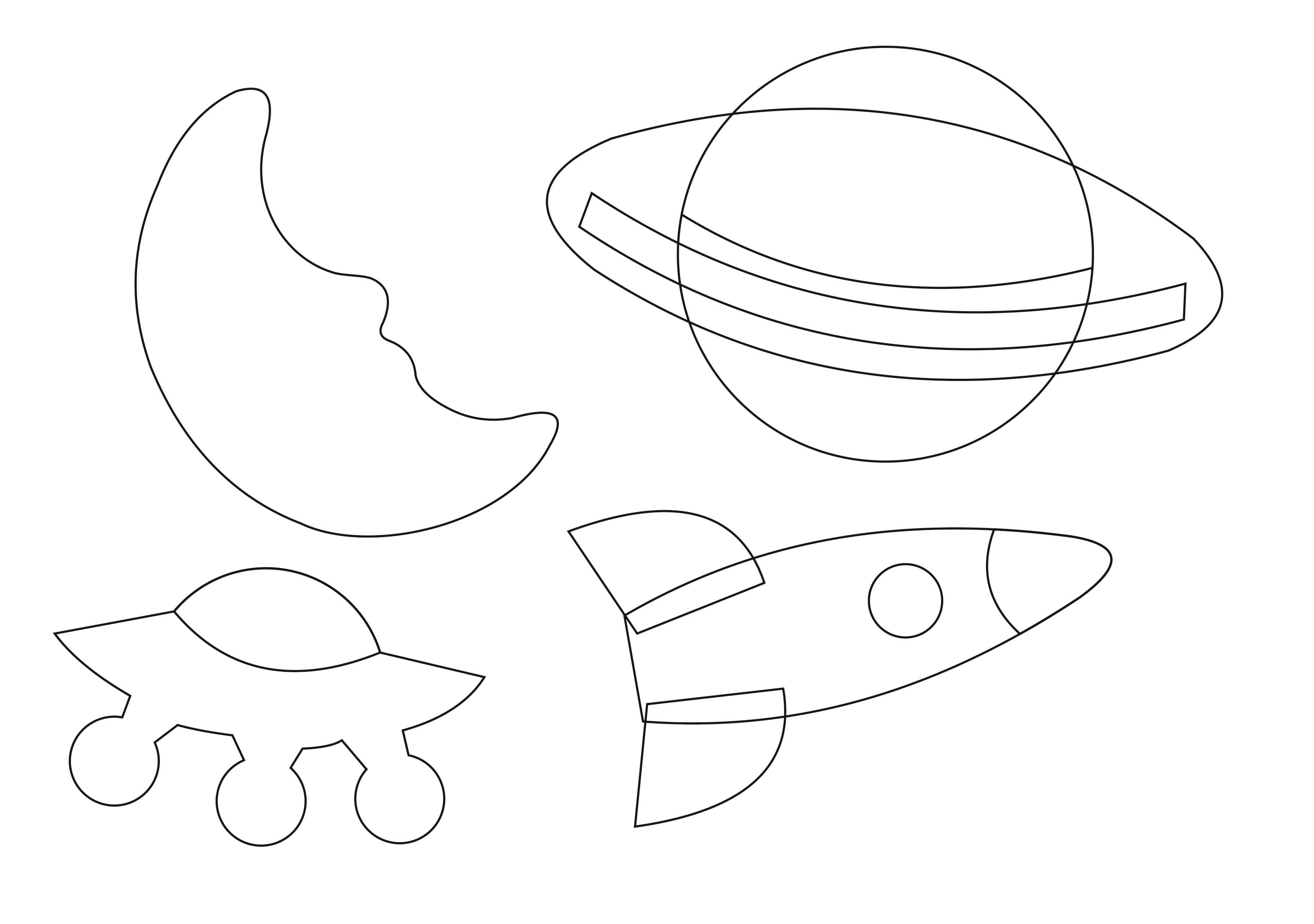 """Шаблон для вырезания на День Космонавтики """"ракета, луна, космический корабль и планета"""