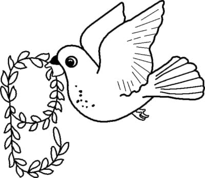 The pigeon carries a sprig